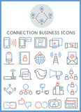 Connection business icons set  Stock Photo