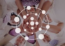 Connection circle icon against friends photo. Digital composite of Connection circle icon against friends photo Royalty Free Stock Photos
