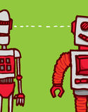 Connection or communication between two funny robots syncing Stock Photography
