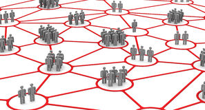 The connection of communities of people. Social connections. Business people network connections concept. . 3D Illustration Royalty Free Stock Photo