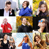 Connection concept. People with mobile phone collage Stock Photos