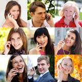 Connection concept. People with mobile phone collage Stock Images