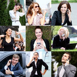 Connection concept. People with mobile phone collage Royalty Free Stock Photos