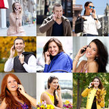 Connection concept. People with mobile phone collage Stock Image
