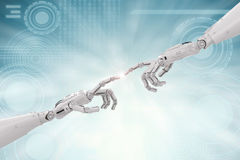 Connection concept with robotic hand pointing. Connection concept with 3d rendering robotic hand pointing Royalty Free Stock Images