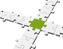 Connection. With 3D puzzle green middle Royalty Free Stock Photography