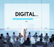 Connection Data Streaming Download Archiving Concept. Business People Discuss Connection Data Streaming Download Stock Image