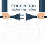 Connection, disconnection electricity. Vector illustration flat design. Men are holding in hand plug and socket to connect. Abstract concept isolated on the Royalty Free Stock Photo