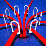 Connection doors. Fine 3d image of web doors connection, abstract illustration background Stock Photos