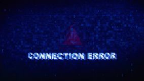 Connection Error Text Digital Noise Twitch Glitch Distortion Effect Error Animation. Connection Error Text Digital Noise Glitch Effect Tv Screen Background stock footage