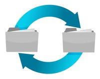 Connection of folders illustration design. Over white Stock Image