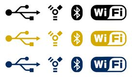 Connection icons. Set of computer connection and communication icons - USB, FireWire, Blootooth and WiFi. Black, yellow and blue on the white background Royalty Free Stock Image