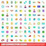 100 connection icons set, cartoon style. 100 connection icons set in cartoon style for any design vector illustration Royalty Free Stock Image