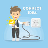 Connection of ideas. Businessman with lightbulb and plug Royalty Free Stock Images