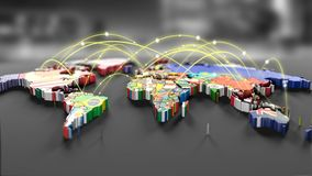 Connection lines Around map with all country flags. Futuristic Technology Theme Background with Light Effect.Global International Connectivity Background. 3d