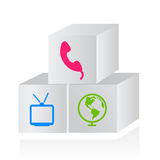 Connection and media kit. Vector illustration of commercial concept for companies offering an all inclusive kit to phone, internet and cable television, as boxes Royalty Free Stock Photo