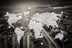 Connection and network system concept over cityscape Stock Image