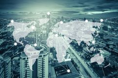 Connection and network system concept over cityscape Royalty Free Stock Images