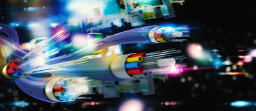 Connection with the optical fiber Stock Image