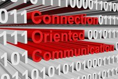 Connection oriented communication. In the form of binary code, 3D illustration Stock Image