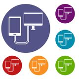 Connection phone icons set Stock Photography