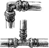 Connection of pipes. Vector image of the fragment of pipes of steam heating Stock Images
