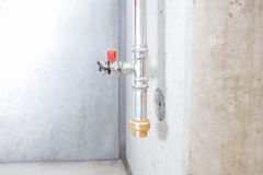 Connection point of an sprinkler system. Connection point of an emergency indoor sprinkler system Royalty Free Stock Photos