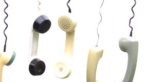Connection problems. Hanging handset stock footage