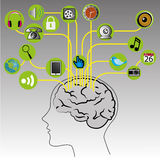 Connection. Social media icons connecting with the brain on gray gradient background Royalty Free Stock Photo