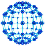 Connection sphere. Created of linked blue glass balls isolated on white background. 3d Royalty Free Stock Photos