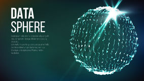Connection Structure. Point And Curve Constructed The Sphere Wireframe. Vector. Futuristic Earth Globe. Abstract Technology Futuristic Network. Big Data Complex Stock Image