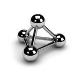 Connection symbol (chrome). 3 chrome spheres,connected to each other, isolated over a white background, with a soft shadow. The symbol of connection. A molecule Royalty Free Stock Photos