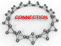 Connection symbol illustration. 3D rendered illustration for the concept of connection. Multiple 3D connection symbols for a molecule are arranged in a circular royalty free illustration