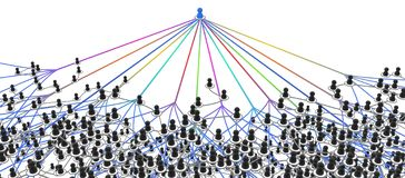 Connection System, Strings One. Crowd of grey small symbolic 3d figures linked by lines, complex layered system all colors strings linking one, over white royalty free illustration