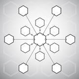 Connection of the thirteen  hexagonal cells on the. Background of the polygons. Vector graphics Stock Images