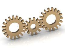 Connection of the three gold gears Stock Photo