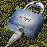 Connection to internet security, electronic security, Internet traffic encryption. Stock Image