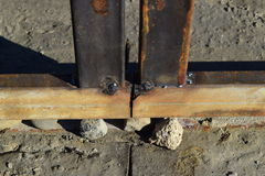 Connection by welding of metal square pipes Royalty Free Stock Photo