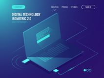 Connection on a wireless network, ciphered data transfer, open laptop with usb store, digital electronic key access. Data transfer protocol,registration Royalty Free Stock Photos