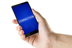 Connection word on digital smart phone Stock Image