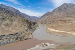 The connection of Zanskar river and Indus river Stock Photos