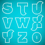 Connections Alphabet Vector Font Set 3 S to 0 Royalty Free Stock Photo