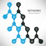 Connections - Black and Blue Digital Network Design Concept With Connected Icons Layout - Technology Template Illustration. Abstract Modern Cloud Computing Royalty Free Stock Image