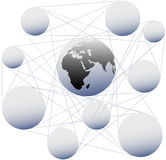 Connections join sphere Earth in global network Royalty Free Stock Photography
