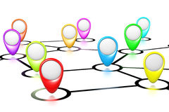 Connections Map. With Empty Pointers on White Background 3D Illustration stock illustration