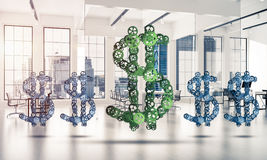 Connections and networking concepts as means of money earning on. Making money and wealth represented by dollar sign made of gears. 3d rendering Royalty Free Stock Images