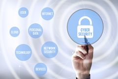 Connections pen touch cyber security Stock Image