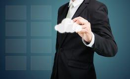 Connectiv de technologie de réseau informatique de nuage de dessin d'homme d'affaires Photographie stock