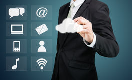 Connectiv de technologie de réseau informatique de nuage de dessin d'homme d'affaires Image libre de droits