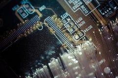 connectivité Câbles optiques de fibre, connexion de fibre, telecomunicat image stock